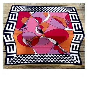 Vintage Vibrant Mod 60's Abstract Scarf